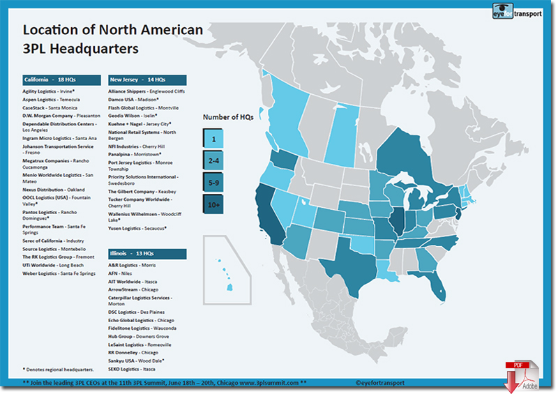 Location Density Map Of Top North American 3pls