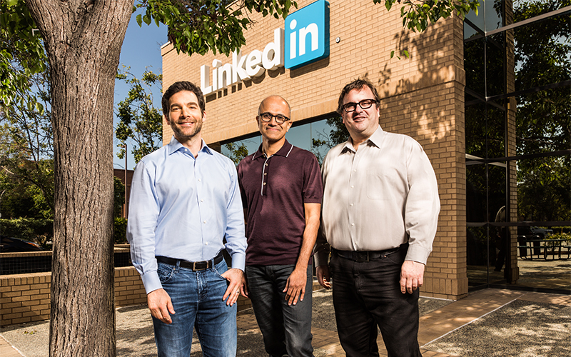 Jeff Weiner, CEO of LinkedIn, Satya Nadella, CEO of Microsoft. Reid Hoffman, chairman of the board, co-founder and controlling shareholder of LinkedIn.
