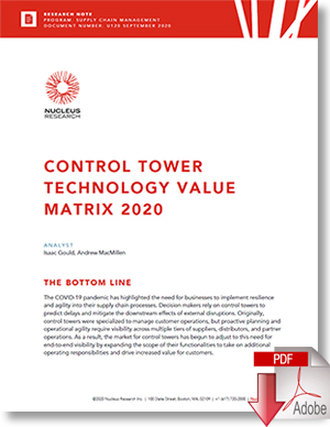 Download: Nucleus Research's Control Tower Value Matrix For 2020