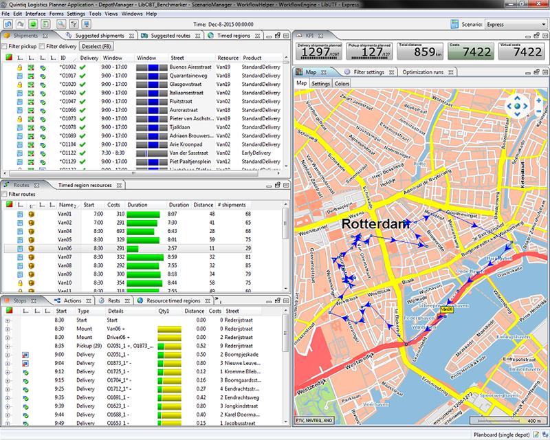 Quintiq Logistics Planner interface