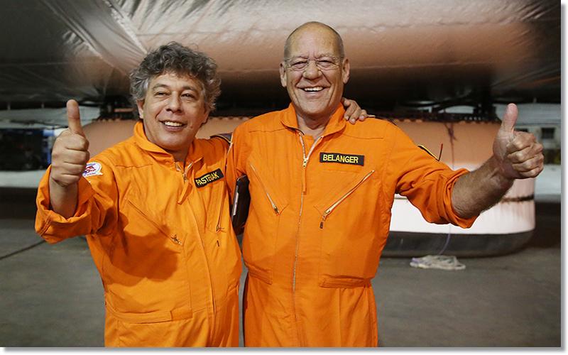 Igor Pasternak, founder and CEO of Worldwide Aeros Corp. (left) with Corky Belanger, Worldwide Aeros Corp.'s veteran lighter-than-air (LTA) and test pilot.