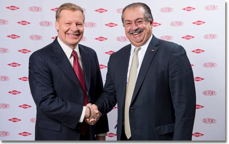 Edward D. Breen, chairman and chief executive officer of DuPont, pictured with Andrew N. Liveris, Dow's chairman and chief executive officer