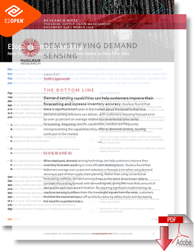 Download Demand Sensing Solution Utilizes Real-Time Data to Predict Near-Term Demand