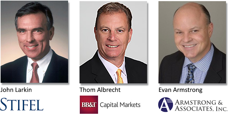 John Larkin, managing director, research, at Stifel; Thom Albrecht, managing director, transportation equity research, at BB&T Capital Markets; and Evan Armstrong, president, Armstrong & Associates Inc.