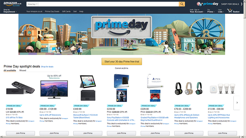 Jump straight there: go straight to the Amazon Prime Day deals homepage