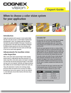 Cognex Expert Guide: When to Choose a Color Vision System